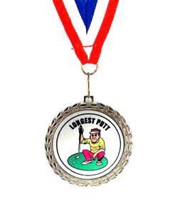 Golf-Medal-Longest-Putt-Comic-Bright-Silver-Finish-Free-Neck-Ribbon