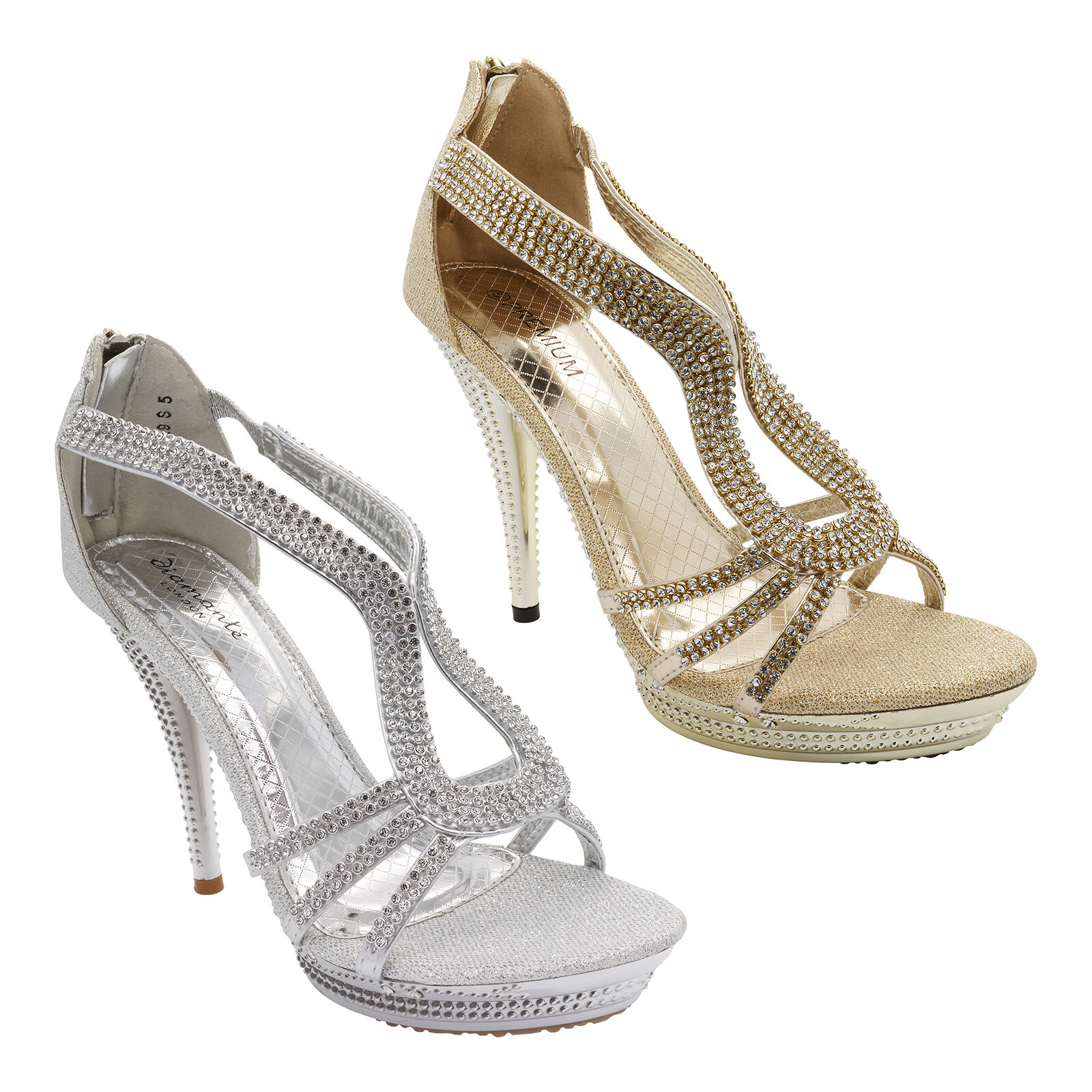 Womens Diamante High Heels Bridal Sandals Ladies Prom Party Platform Evening 3-8