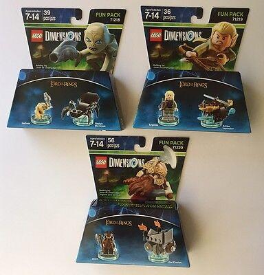 Lego Dimensions Lot 3 Lord Of The Rings Gollum Legolas Gimli New Fun Packs NIB