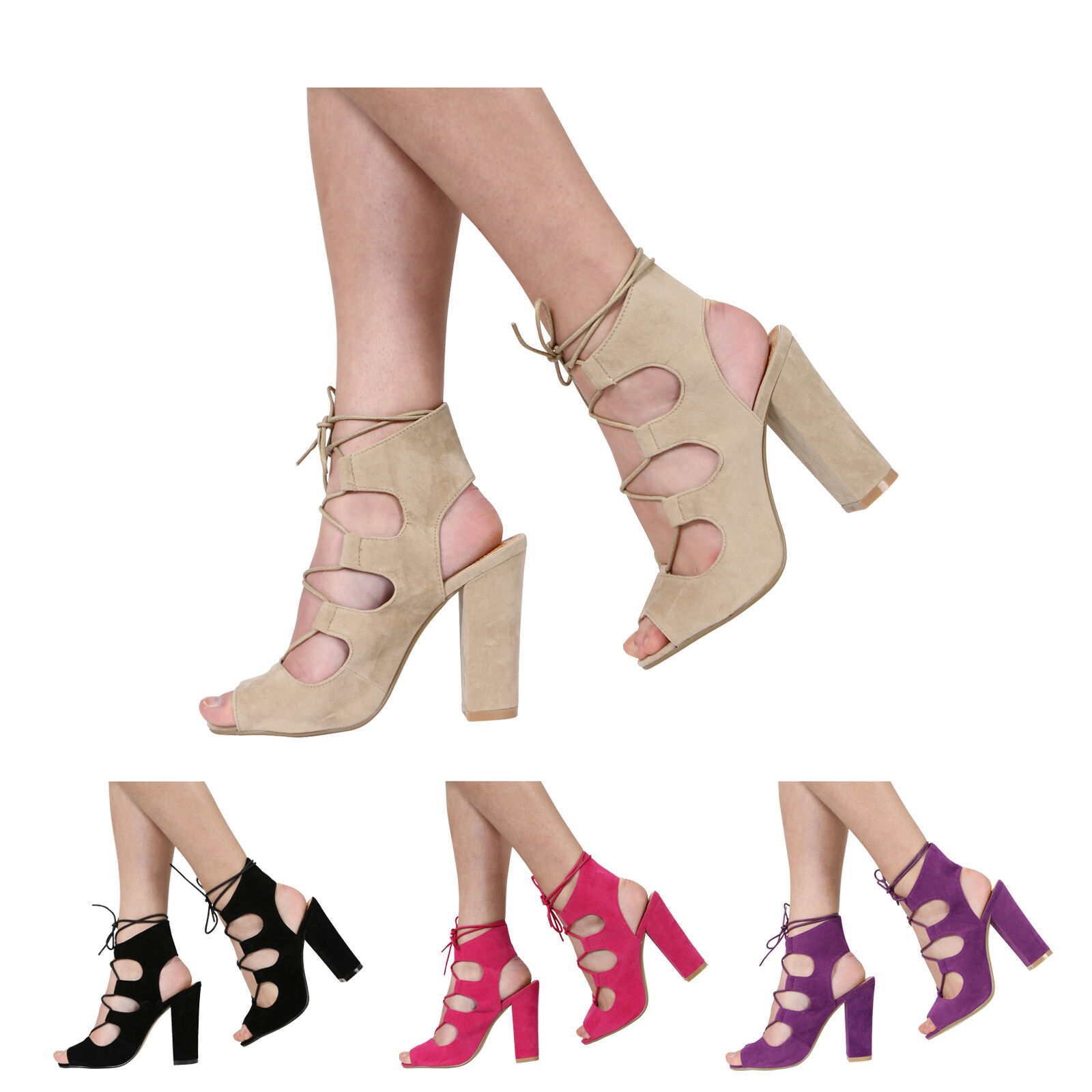 WOMENS LADIES HIGH BLOCK HEEL PEEPTOE CUTOUT ANKLE LACE UP SANDAL SHOES SIZE 3-8