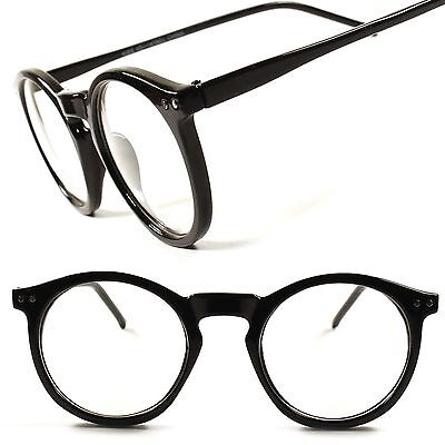 Stylish Classic Celebrity Retro Mens Womens Round Clear Lens Glasses Frames D24A