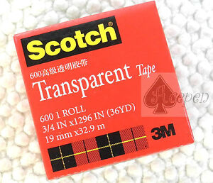 5 rolls 600 3M Scotch Transparent tape 3/4 inX1296 in X 36yd
