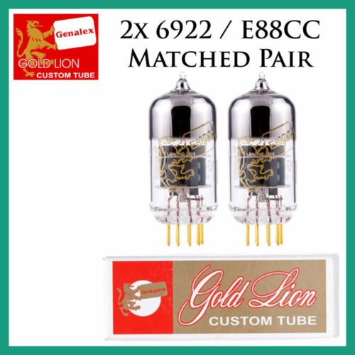 E88CC 6DJ8Matched Pair Duet Two Tubes New 2x Genalex Gold Lion 6922