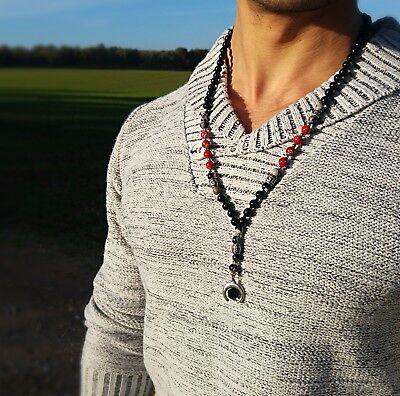 Necklace for Men Long Necklace Gemstone Necklace Bead Necklace For Men Mens Rosary Necklace Mens Beaded Necklace Mens Lava Necklace