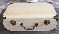 Unfinished Small Wood Craft Suitcase Trinket Storage Box Pet Urn 9 1/2 X 6