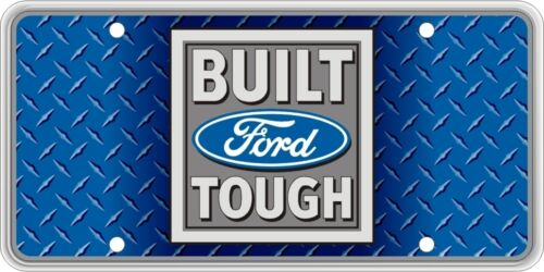 Built Ford Tough on Blue Faux Diamond Plate SVFORD12A