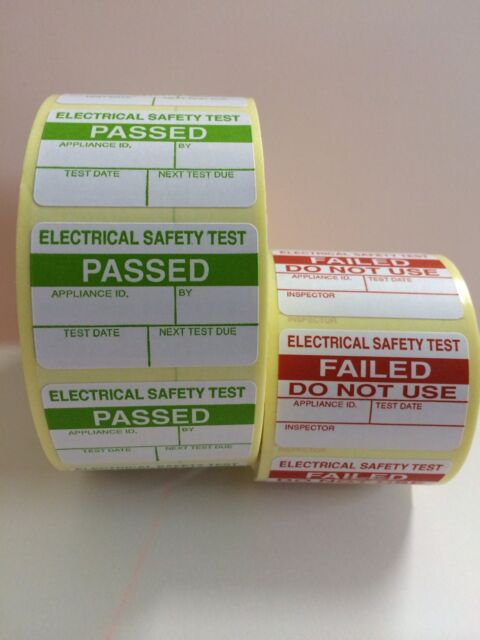 1000 PAT Test / Testing Electrical PASSED Labels Stickers + 100 Free FAILED