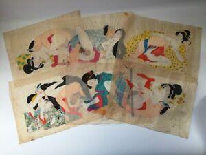 Japones-Syunga-Arte-Vtg-Mano-Pintura-6pc-Junk-Woman-Kimono-Kanzashi-Puuntado