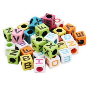 200x Alphabet Cube Beads Large Hole Letter Beads for Kids Crafts Education