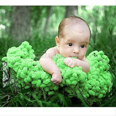 Hot Newborn Baby Photography Photo Props Backdrop Ball Green Blanket Hand Made