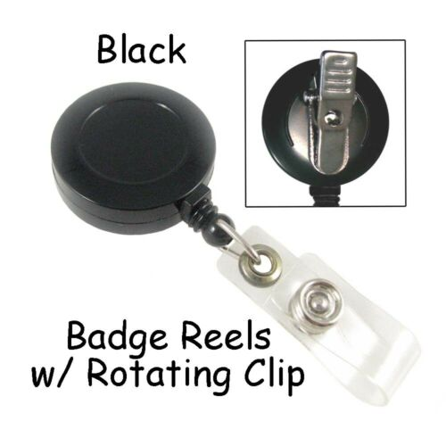 Retractable w// Rotating Clip /& Plastic Strap 25 ID Badge Reels Lanyard Black