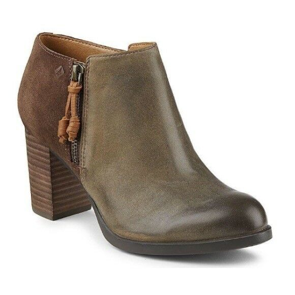 New SPERRY Topsider Lille Bootie Burnished Leather 8.5