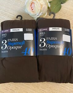 NEW M/&S 3 PACK 40 Denier Supersoft Opaque Tights BLACK XL