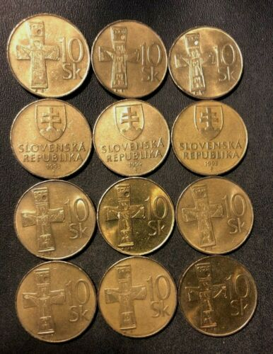 FREE SHIPPING SCARCE TYPE Old SLOVAKIA Coin Lot 12 High Quality Coins