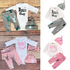 MAMA'S Infant Baby Boys Girls 3Pcs Outfit Romper Hat Babygrow Pant Clothes 0-18M