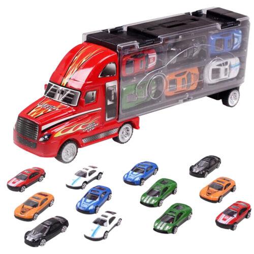 Kids Boy Transport Car Carrier Truck Child Alloy Metal Toy 12Pcs Cars+ 1Pc Truck