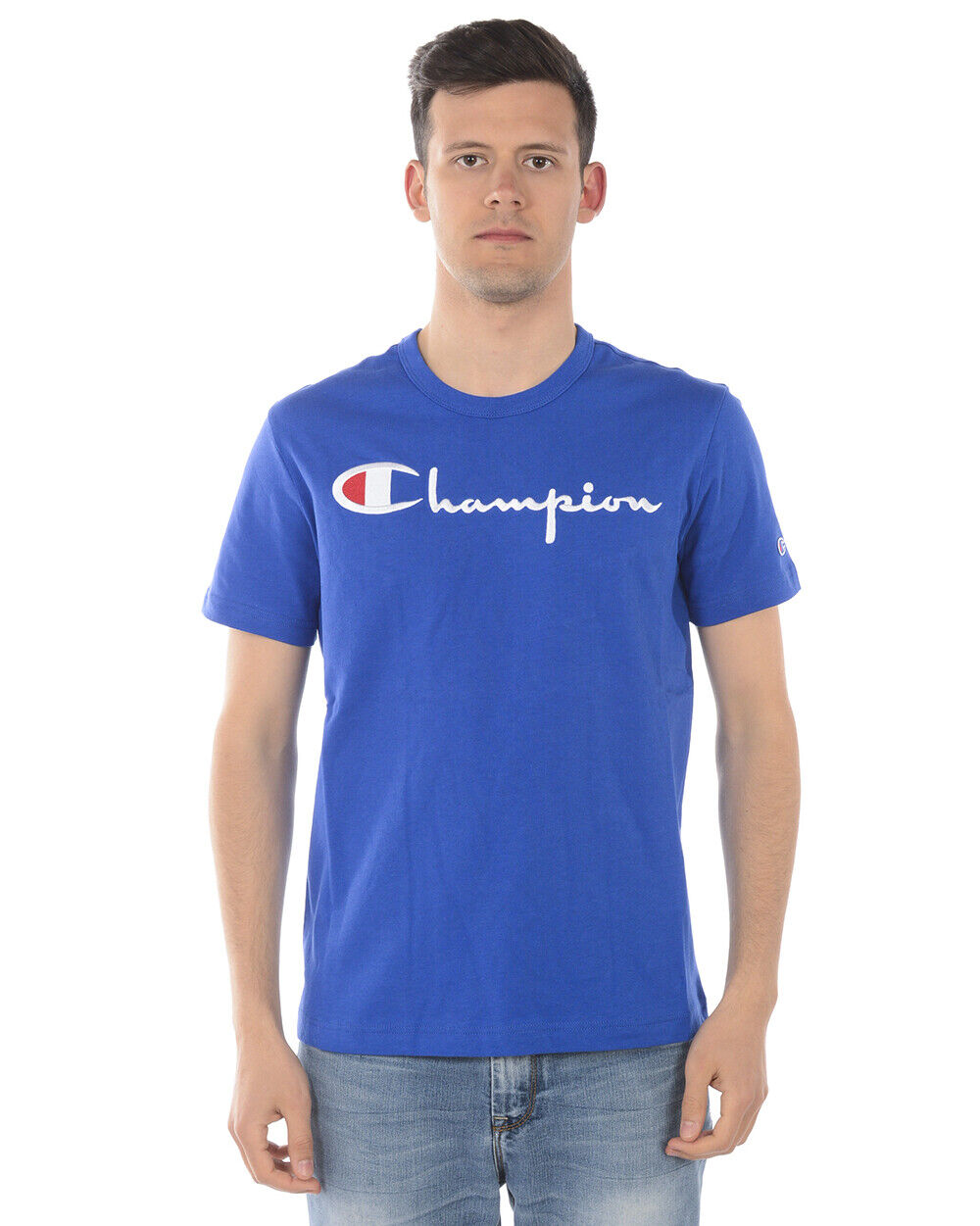 Champion T Shirt Sweatshirt Cotton Man Blau 210972 BS008 Sz. S PUT OFFER