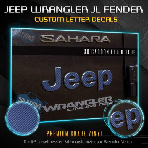 Jeep Wrangler JL 2Pcs Fender Badge Overlay Decal Matte Carbon Fiber For 2018
