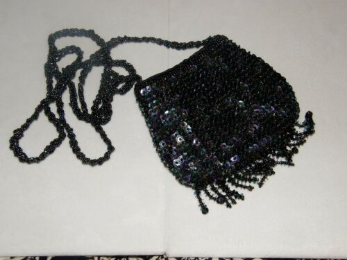SMALL SEQUIN FRINGE PURSE EVENING BAG IRIDESCENT BLACK MATCHES ANY COLOR /& DENIM