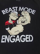 POPEYE - BEAST MODE ENGAGE - MEDIUM BLACK T-SHIRT E2769