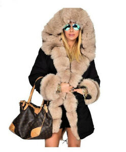 62a7295c8e0 Women s winter Faux fur coat Long Fox fur jacket warm Fur Hooded ...