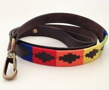 HAND MADE LEATHER DOG LEAD EMBROIDED POLO ARGENTINA LEASH STRONG ARGENTINIAN