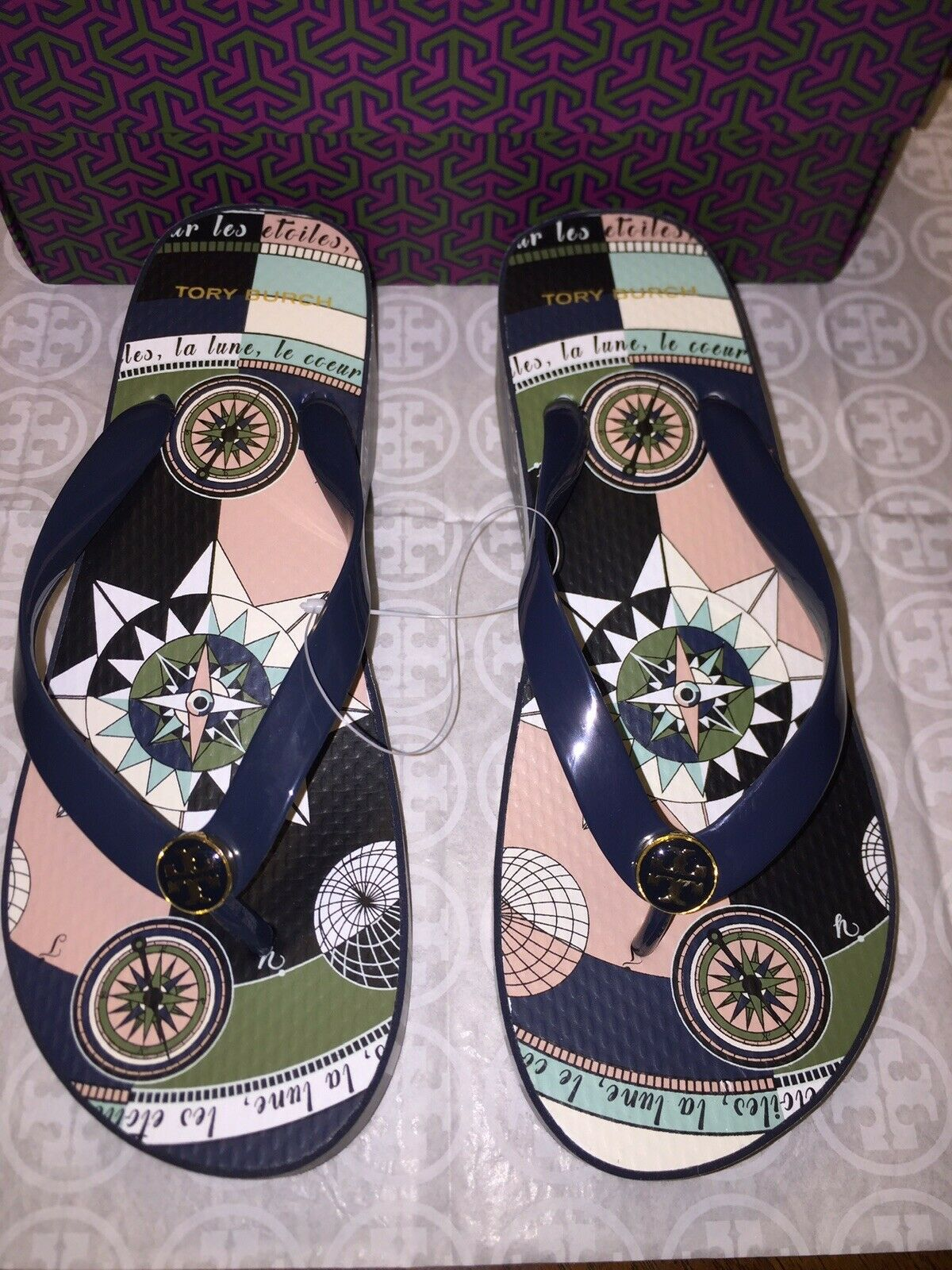 NIB Tory Burch PRINTED CARVED WEDGE FLIP-FLOP in Tory Navy Constellation Size 8