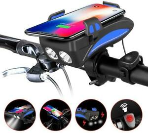 4 in 1 Waterproof Bicycle Light with Bike Horn//Phone Holder//Power Bank 0050