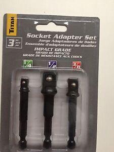 "3//8/"" Titan 12082 3 Piece Socket Adapter Set 1//4/"" 1//2/"" Drive Impact Grade"