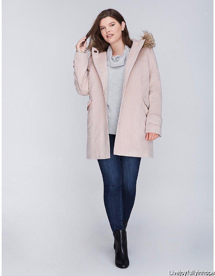 LANE BRYANT  NEW  14 16  Taupe Faux Fur Hodded Dress Coat 1X