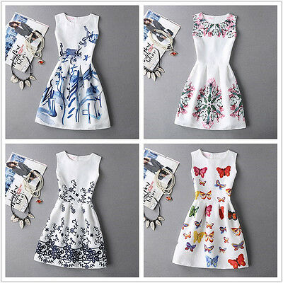 New 2017 Spring Summer Womens Dress Vintage Digital Evening Party Print Dresses