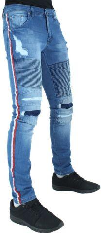 Denim King Men/'s Designer Jeans Red White Stripe Is Time Money Hip Hop Biker
