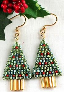Christmas Tree Earrings Drop Beaded Glass Seed Bead ...