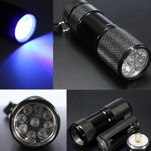Torche led uv ultra violet lampe de poche torche portable batterie AAA Argent Checker UK  </span>
