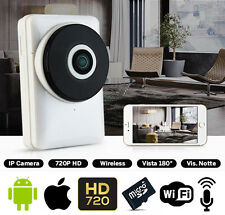 TELECAMERA IP CAMERA HD 720P 180° WIRELESS LED IR LAN WIFI RETE APPLE ANDROID