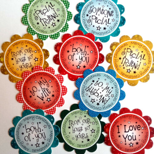 """10 Xmas Sentiments MIXED XMIX10 Hand Made 2/"""" Card Toppers for Card Making"""