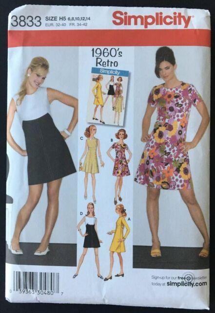 SIMPLICITY Pattern 3833 1960/'s RETRO Dress Sz 6 8 10 12 14 UNCUT NEW