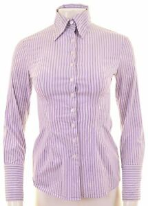 BENETTON-Womens-Shirt-Size-6-XS-Purple-Striped-Cotton-DW06