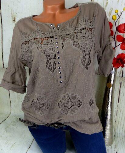 Bluse Designer Lochstickerei Top Shirt Tunika Crash Baumwolle Taupe 2 tlg  38 40