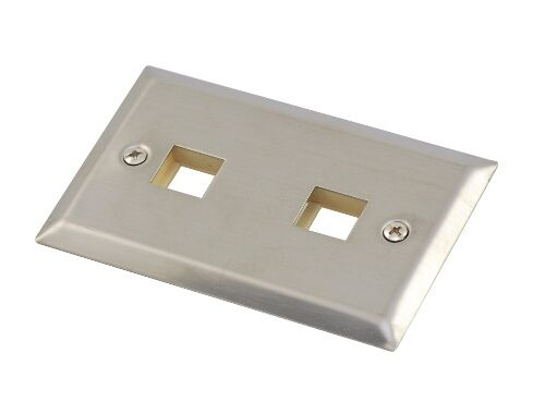 brushed stainless steel 2 port Keystone wall plate