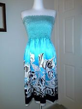 CACHE $168 100% Silk Sheen Floral Print Strapless Dress S Tube Top Blue Black