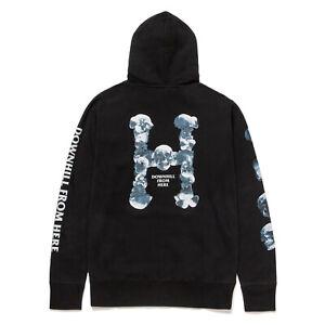 Huf Worldwide Sweatshirt Hooded Pullover Hoodie Skulls Classic H Black in M