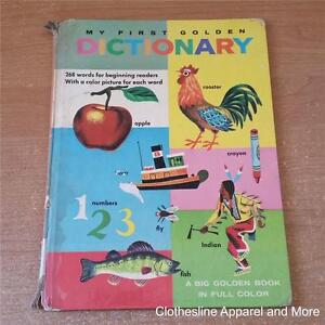 Details about Vintage My First Dictionary Big Golden Book