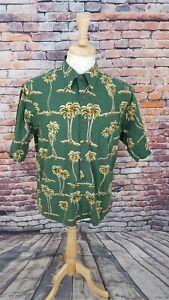 8ac1842b Reyn Spooner Joe Kealoha Men Green PalmTree Hawaiian Button Up Shirt ...