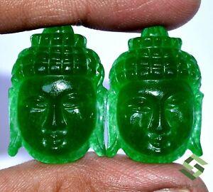 62.08 CTS Natural Green Onyx Lord Buddha Pair Carving 29x21 mm Loose Gemstones