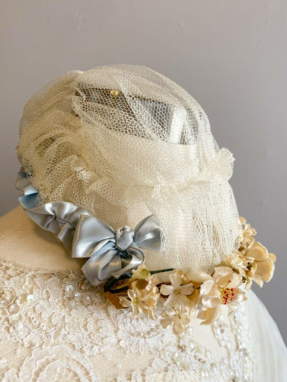 1950's Vintage Wedding Dress Lace w/Juliet Cap & … - image 10
