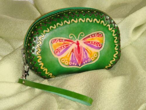 Genuine Leather Wristlet Purse//Wallet Butterfly /& Flower,Grass Green Base