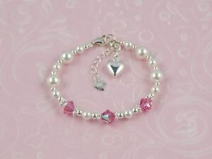 Sterling Silver Baby Girls Birthstone Bracelet Birthday Gift