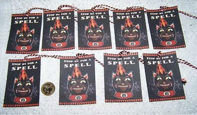 Halloween~Primitive~Witch~Wicca~Samhain~Linen Cardstock~Gift~Hang~Tags