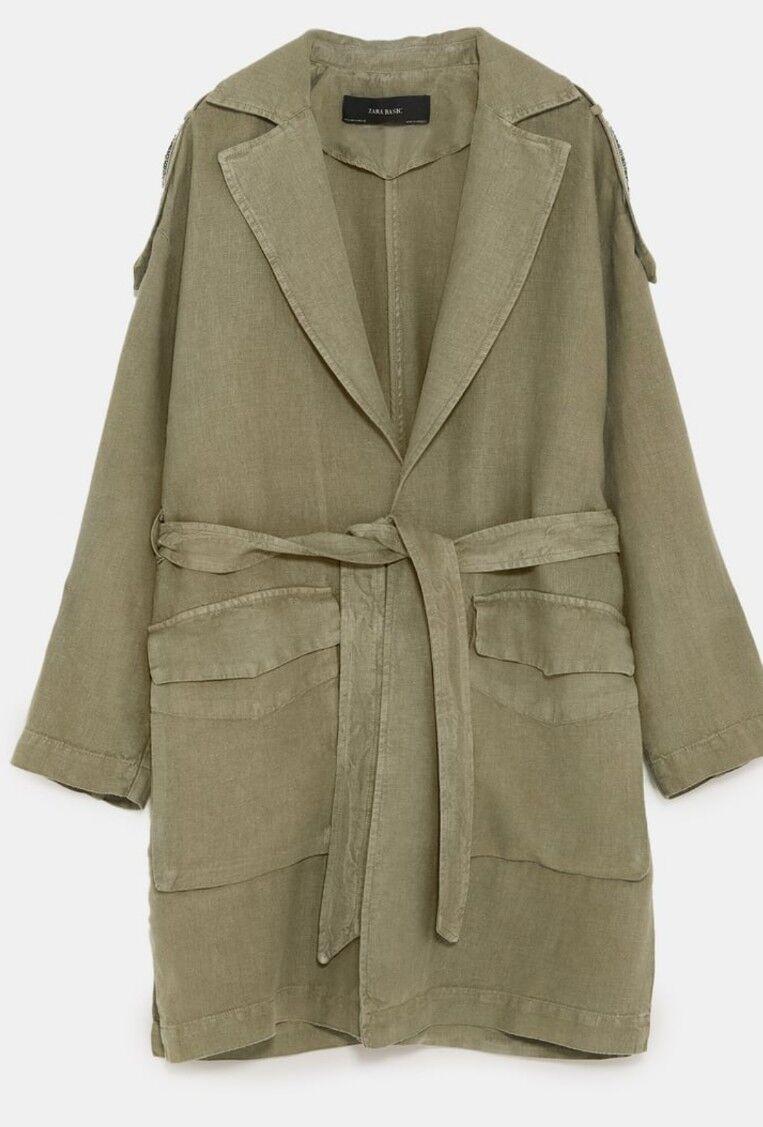 Zara Khaki LINEN COAT Size Medium & Large WITH APPLIQUÉ Style 2744 541